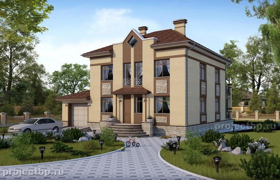Проект двухэтажного дома с гаражом и террасой 194-B